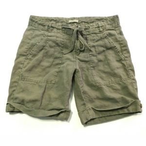 Joie shorts 100% Linen Olive green Size 4